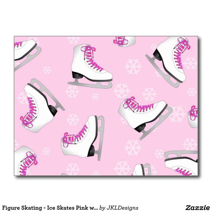 Patinaje artístico - rosa de los patines de hielo tarjetas postales