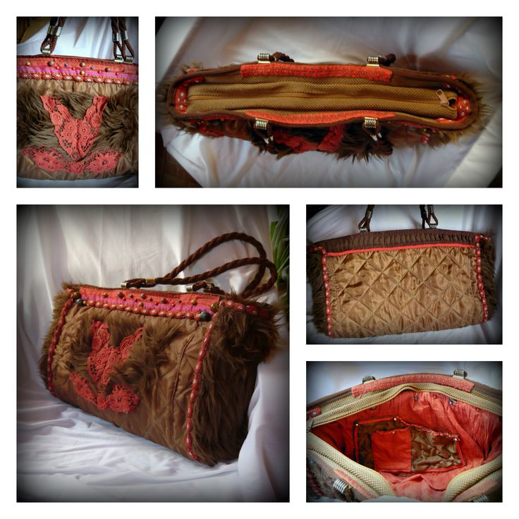 Handmade by Judy Majoros - Cat faux fur quilted shoulder bag.Recycled bag. chrochet,beaded