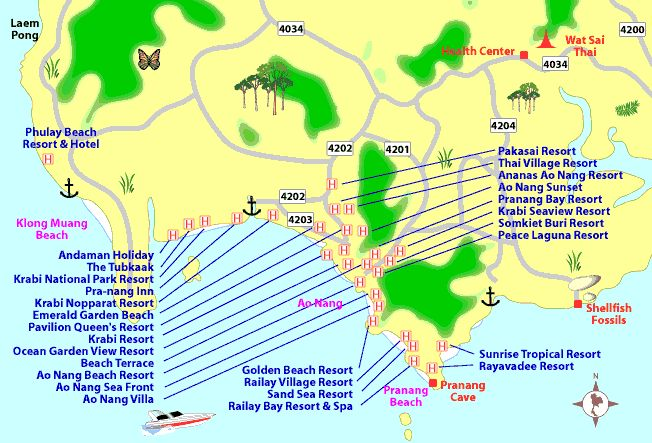 map of krabi town - ao nang beach, thailand travel map ...