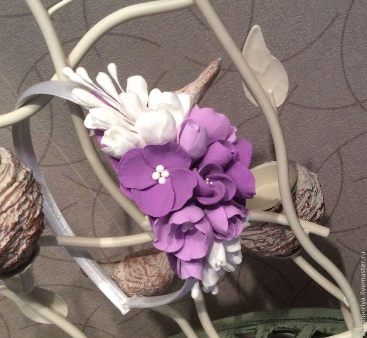 Купить Ободок для волос с цветами из полимерной глины - сиреневый, фиолетовый, фиолетовый цветок, фиолетовый цвет
