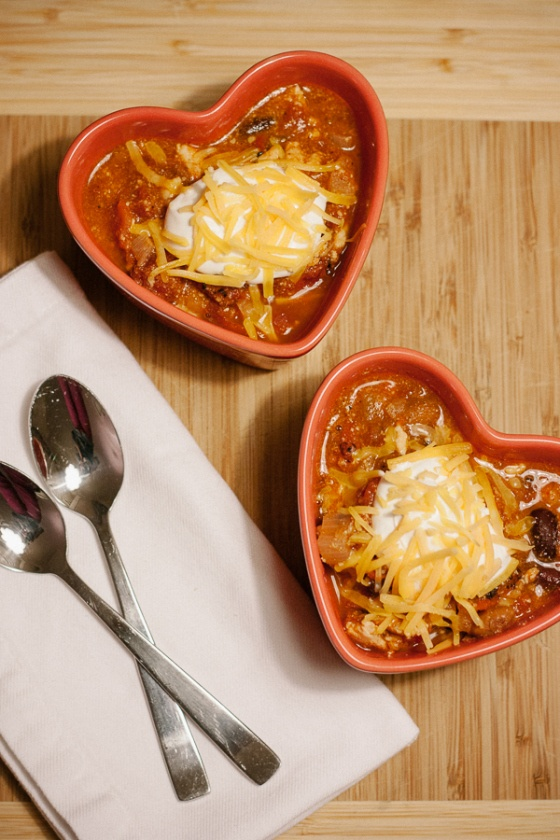 Warm-The-Heart Chili in heart-shaped bowls for Valentine's Day