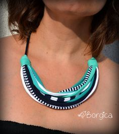 Greek Azure Blue Multistrand Statement Bib Set Necklace Hairband Knotted recycled fabric jewelry upcycled fiber necklace tshirt necklace