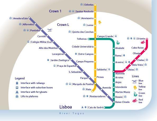 Mapa da Rede do Metro de Lisboa, Portugal