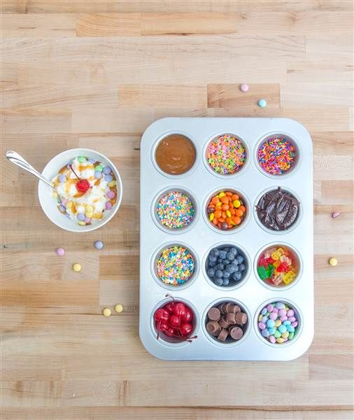 Delicious! Organize your ice cream sundae toppings in a muffin tin next time you're indulging with friends.