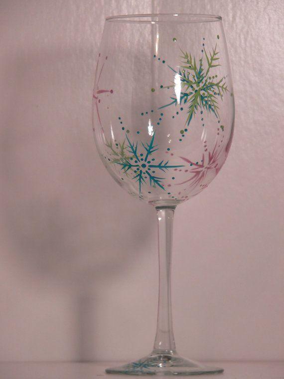 Snowy Days Wine Glass on Etsy, $15.00