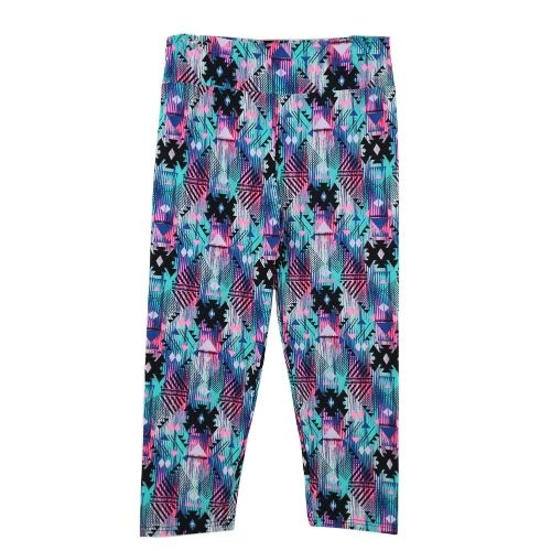 Fashion Women Lady Cropped Trousers Vintage Print Elastic Waist Gym Wear Yoga Capri Pants