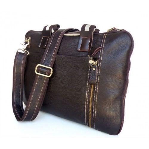Mörkbrun Läder Datorväska | Delton Bags | Fri frakt