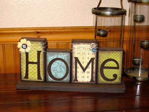 Home Blocks Wooden Block Set Boutique Blocks by KDragonflyDesigns,