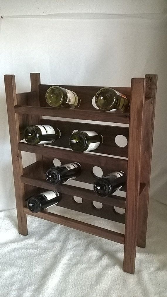 Walnut Wine Rack 16 Bottle Holding Capacity by SodaCreek on Etsy