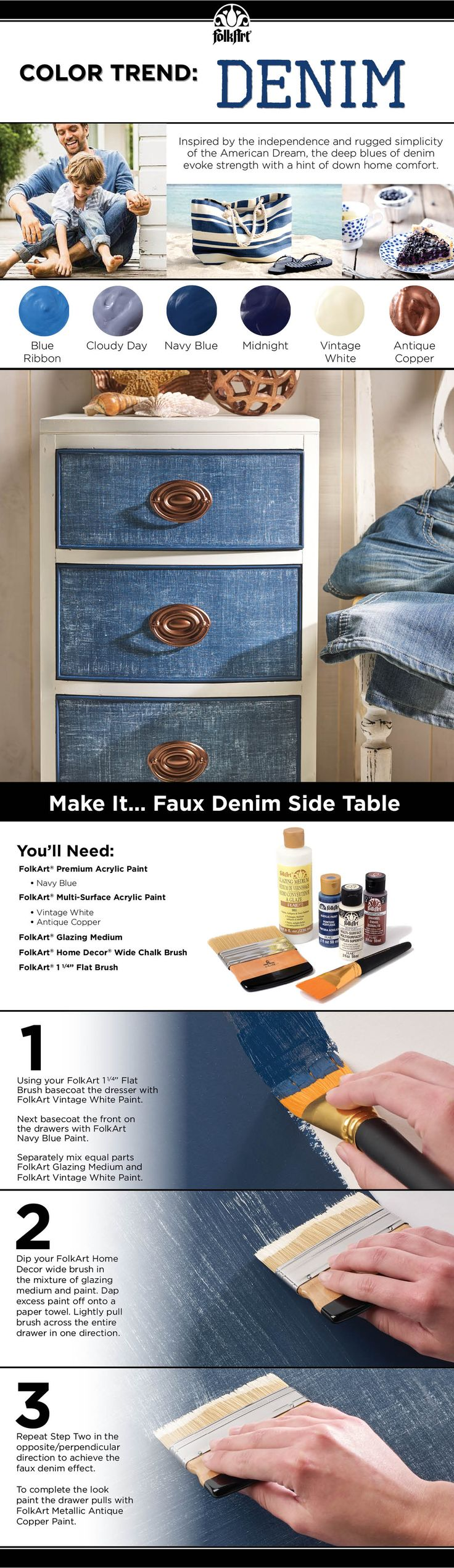 How to: DIY Faux Denim Side Table using FolkArt's newest color trend. #plaidcrafts