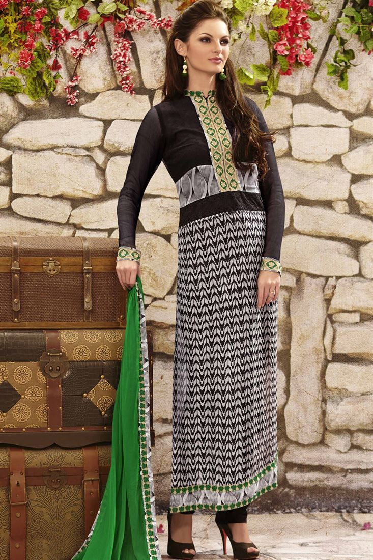 Black, White Georgette Knee Length Straight Suits