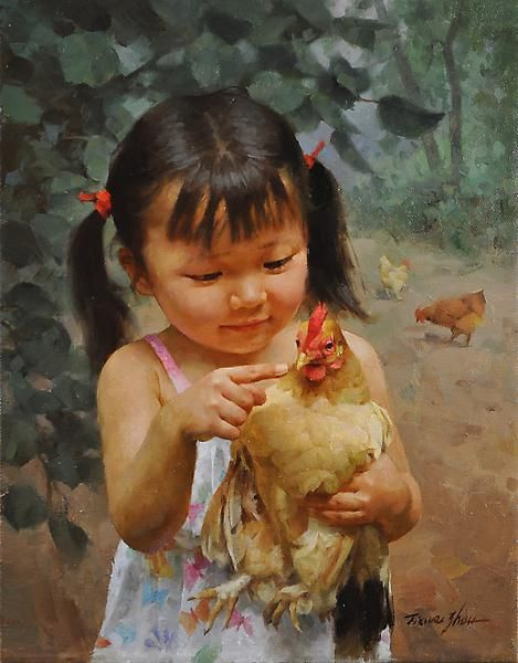 Jie wei zhou best friend art mothers and children for Paintings of toddlers