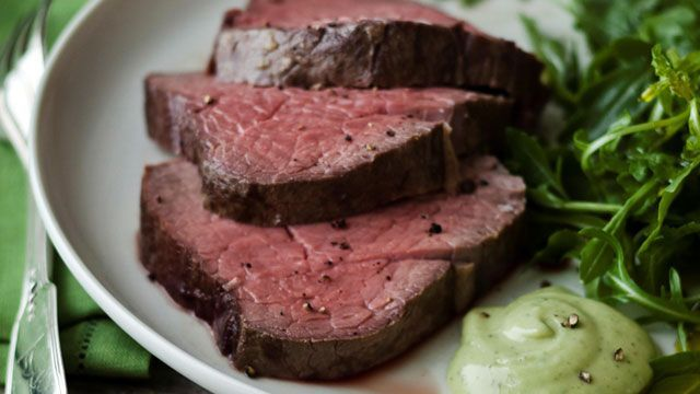 Ina Garten's Slow-Roasted Filet of Beef with Basil Parmesan Mayonnaise. I usually skip the mayo and use horseradish.