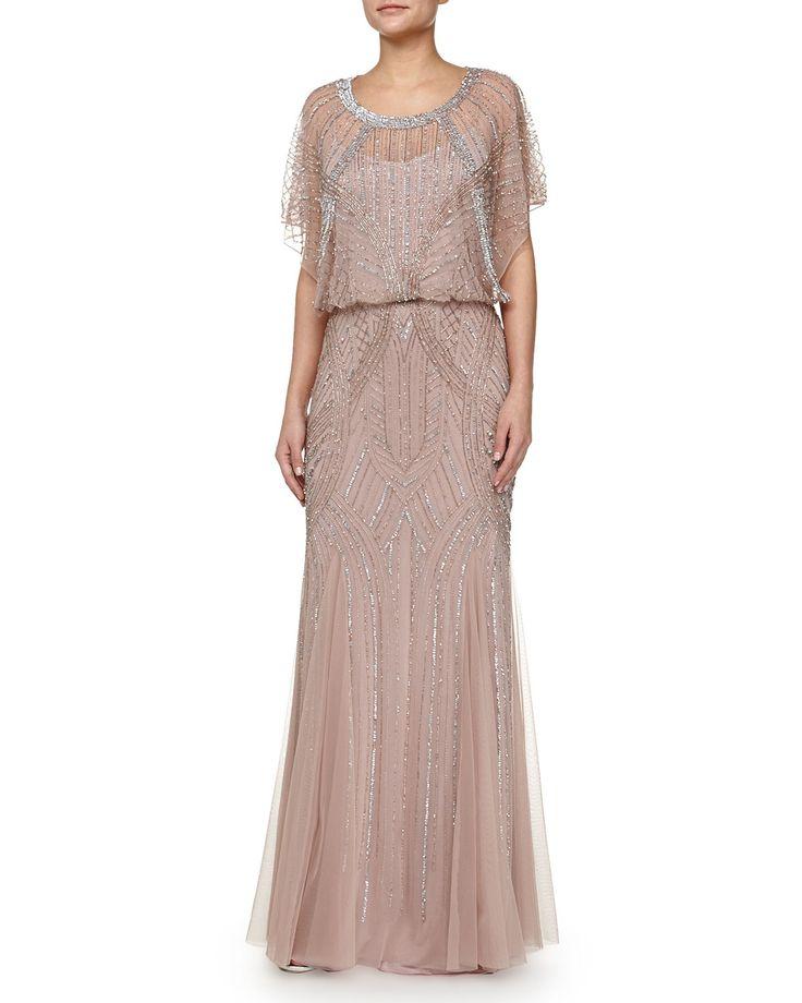 Beaded Butterfly-Sleeve Chiffon Gown, Rose Gold, Women's, Size: 12 - Aidan Mattox