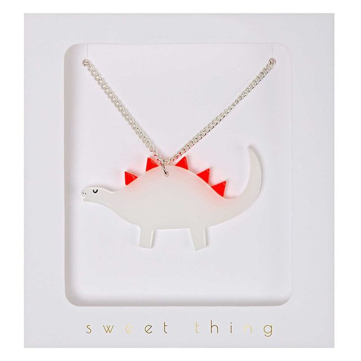 """Fun and quirky dinosaur necklace. Don't worry this cute little stegosaurus is a herbivore! Gift boxed - on 18"""" silver-plated chain. Dinosaur 1.5"""" Visit our"""