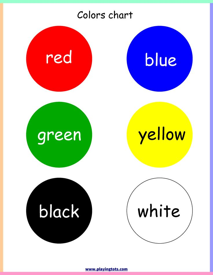 Variety of Color Charts Colors Kindergarten