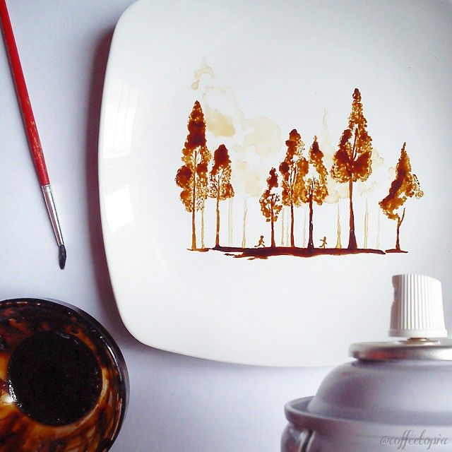 Best 25 leaf paintings ideas on pinterest gold leaf for Painting with coffee grounds
