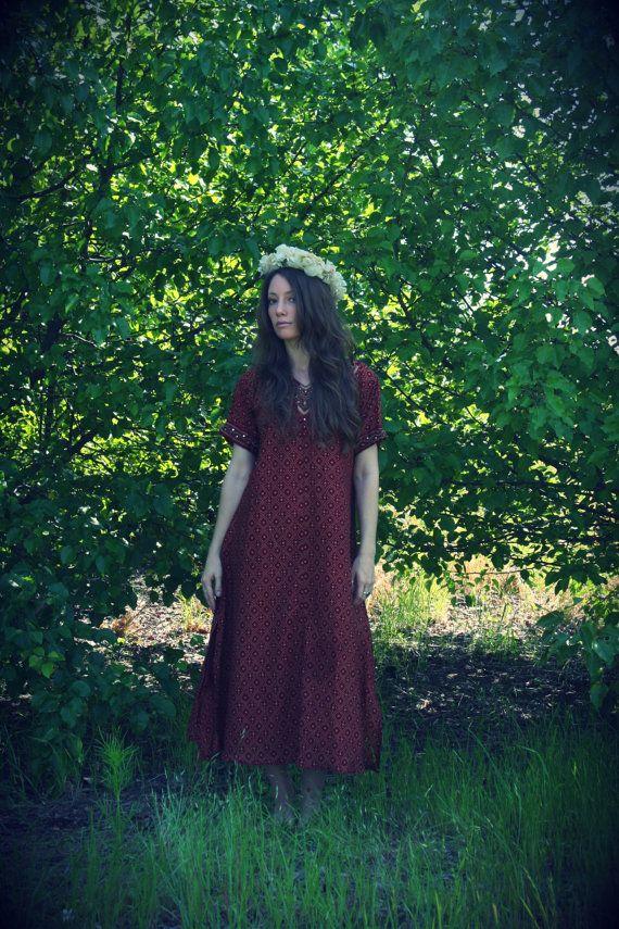 Red Queen India Dress Kurta Caftan Short by WonderlandRevival