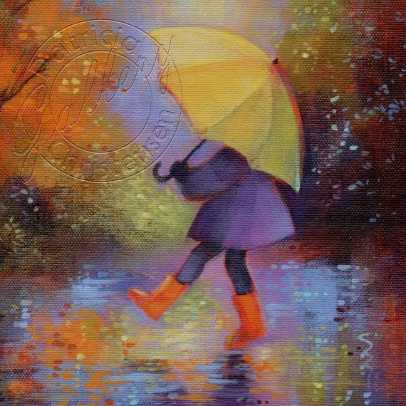 With A Yellow Umbrella In The Autumn Rain, She Splashes About In Her Bright Orange Boots, Turning It Into A Game~ by PChristensenGallery