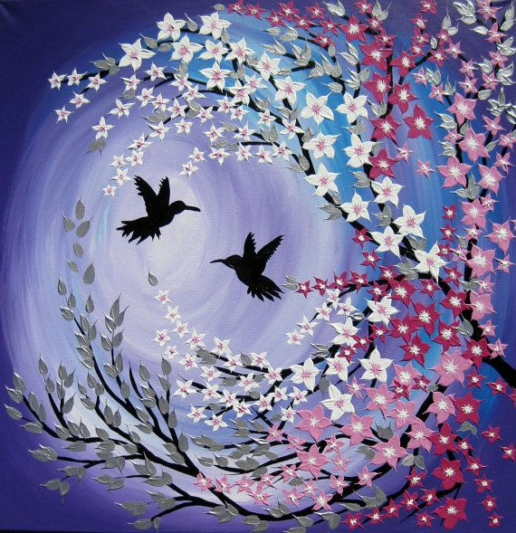 1000 ideas about hummingbird painting on pinterest for Cherry blossom mural works