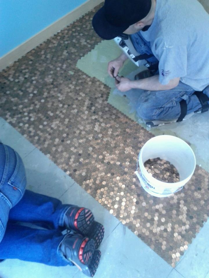 Penny tile floor iron river co laid it out using liquid