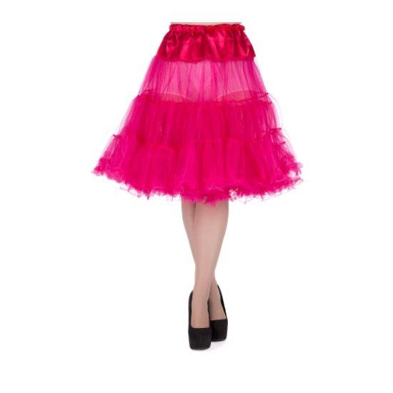 """Lady V London Fuchsia Spodnička k šatům 23"""" Spodnička ve stylu 50. let. Krásná tylová spodnička k šatům s kolovou sukní, dokonale pozvedne výraz šatů, bohatý objem, 2 bohaté vrstvy, 100% polyester, barva fuchsiová (sytě růžová až do fialova), délka cca 58 cm. Vhodná pro kratší typy šatů."""