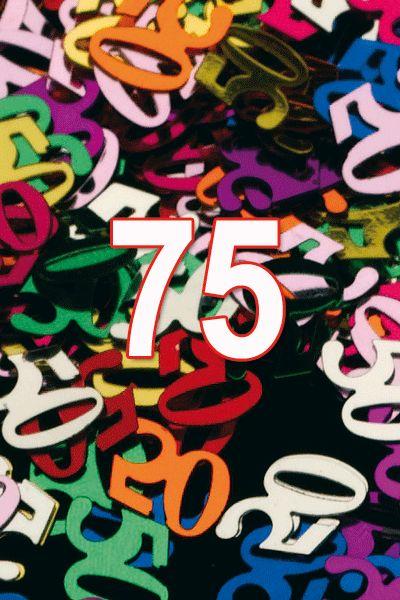 Gekleurde confetti 75 jaar. Vrolijke 75 jaar confetti decoratie als versiering tijdens de verjaardag. Het gewicht van dit zakje 75 jaar confetti is ongeveer 15 gram.