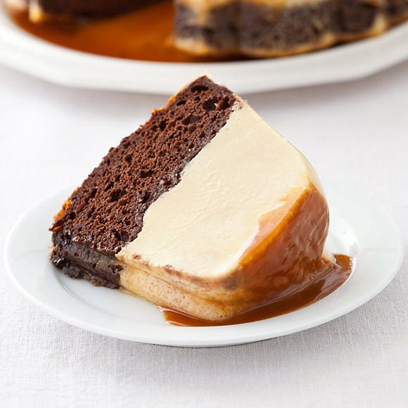 While our Magic Chocolate Flan Cake is baking, the cake layer and flan layer switch places in the oven. Amazingly, they don't mix together; they just reverse positions.