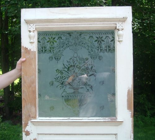 Antq Victorian Eastlake Entrance Door Etched Glass Window