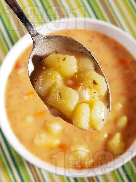 Рецепта за Картофена супа със сметанова застройка - начин на приготвяне, калории, хранителни факти, подобни рецепти