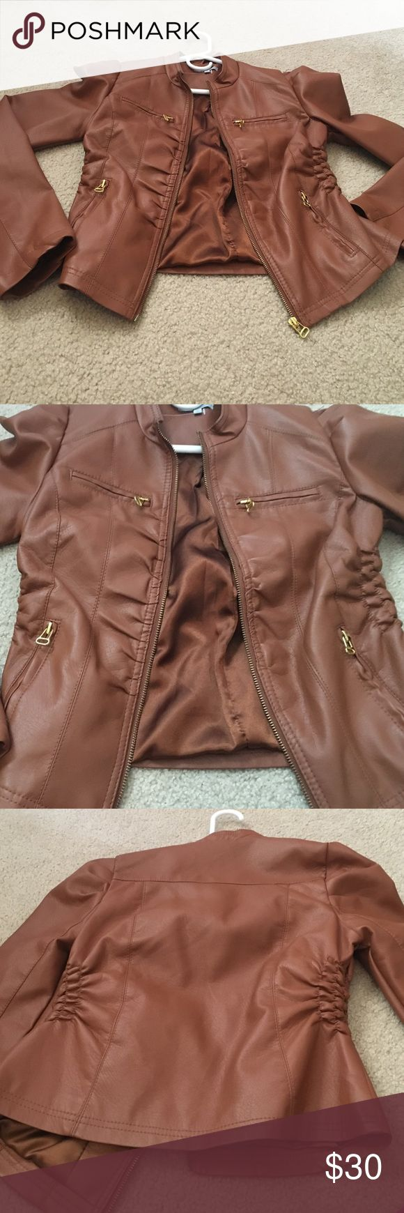 """Leather jacket """"pleather"""" cognac Charlotte Russe jacket in cognac never worn. Size medium. Not real leather. Jackets & Coats"""