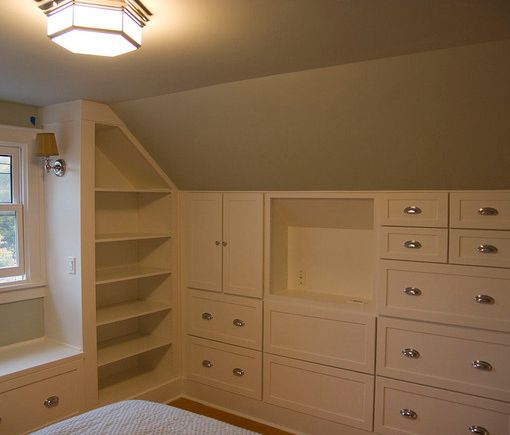 Hate slanted walls but this is awesome... built-in wardrobes will create loads of extra space #AtticConversionIdeas