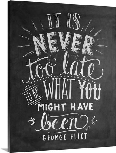 "For the Chalkboard Champ: ""It Is Never Too Late Handlettering"" by Valerie McKeehan. This print and more at GreatBIGCanvas.com."