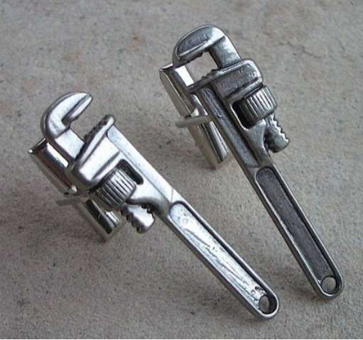 Pipe Wrench Cuff Links are Perfect for Plumbers #mensfashion #mensaccessories