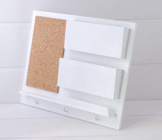 Organizer na ścianę, 39x30 cm, drewniany, biały