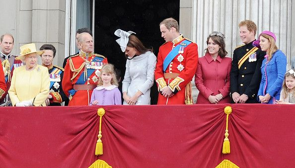 "Kate Middleton and Princess Eugenie Photo - Queen Elizabeth II and Duke of Edinburgh at the ""Trooping the Colour"" birthday celebrations in London with aerial perfomance"