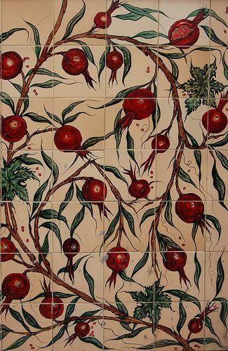 Ceramic Tiles Decorated with Pomegranates