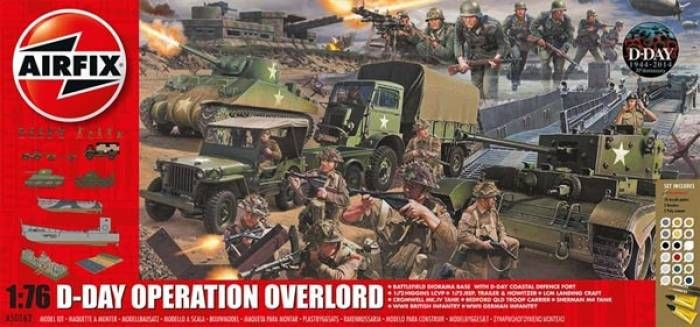 Airfix 50162. D-Day Operation Overlord Gift Set w/paint & glue. This collection comes from the Normandy beach-head, with tanks, landing craft, trucks, a gun emplacement, soldiers and a diorama base to enable you to recreate this momentous day. http://www.michtoy.com/item-AFX-50162-D_Day_Operation_Overlord_Gift_Set_wpaint_and_glue.html