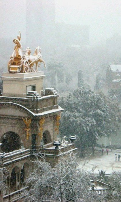 Barcelona under snow