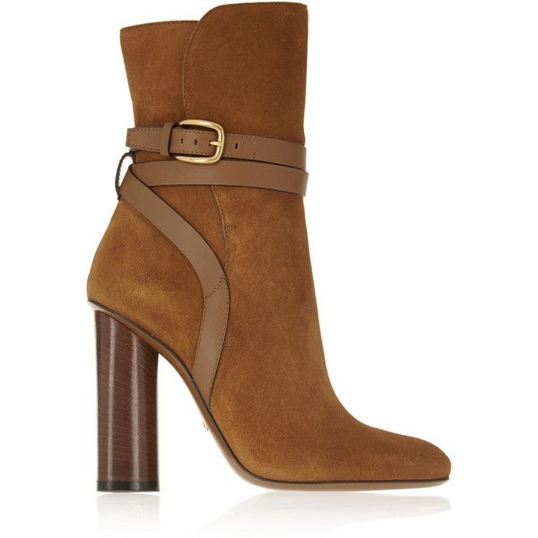 Gucci Leather-trimmed suede boots (71,085 INR) ❤ liked on Polyvore featuring shoes, boots, heels, gucci, обувь, brown, buckle shoes, suede boots, brown buckle boots and gucci boots