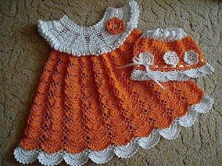 Orange and white dress and hat- Crochet