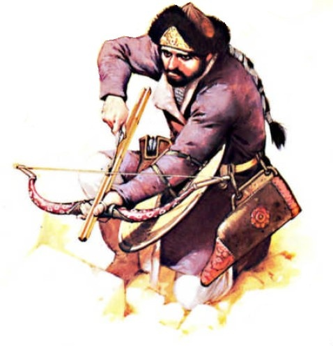 Turkish warrior with bow and majra