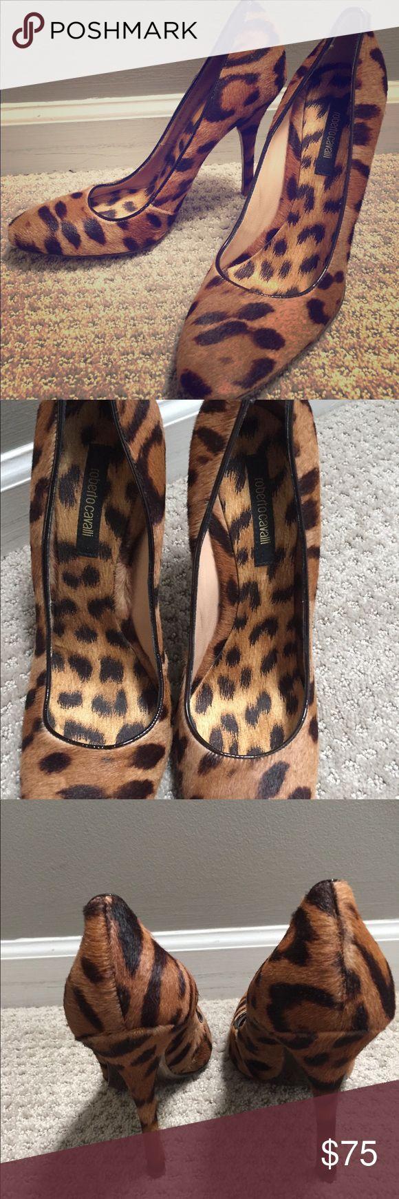 "Roberto Cavalli Pony Hair pumps Tan and brown leopard print ponyhair Roberto Cavalli round-toe pumps. 3.5-4"" heel Like new condition, worn once. Size 8 snug fit Roberto Cavalli Shoes Heels"