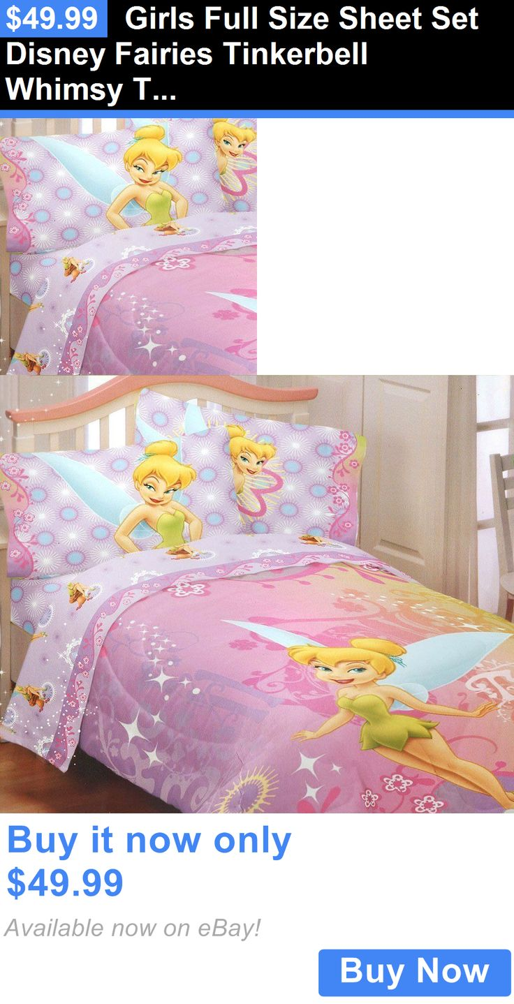 Kids at Home: Girls Full Size Sheet Set Disney Fairies Tinkerbell Whimsy Tink Kids Bedding New BUY IT NOW ONLY: $49.99