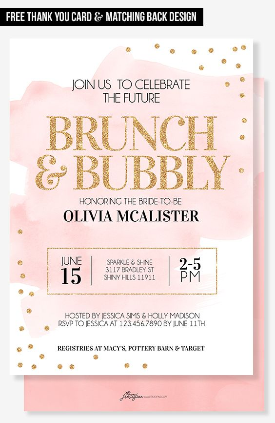 Modern bridal shower invitation for your trendy party theme. Blush pink and peach with gold glitter details. Perfect bridal shower card to invite your guests to most amazing party of the year to celebrate and shower the bride-to-be.