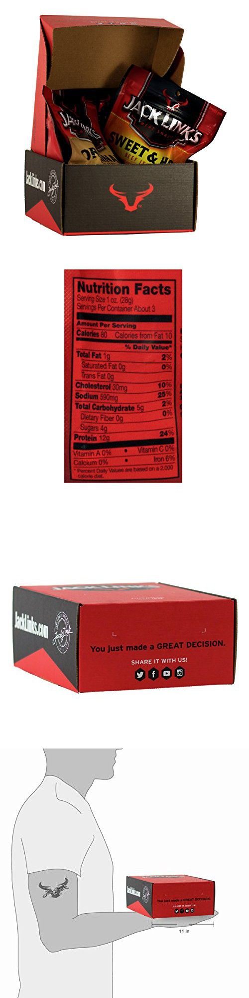 Jack Link's Beef Jerky, Classic Variety Pack, 4 Count