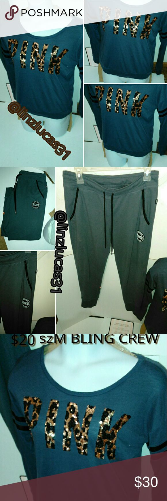 VSPINK szM Bling crew& gym pants, New SzM VSPINK bling crew, New, and VSPINK szM gym pants NEW, very cute outfit, will sell separately, will do pants for$22. PINK Victoria's Secret Other