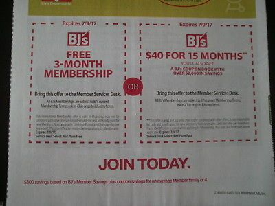 BJ's WHOLESALE CLUB Coupons 3 Months/15 Months New Membership Exp. 7/9/17