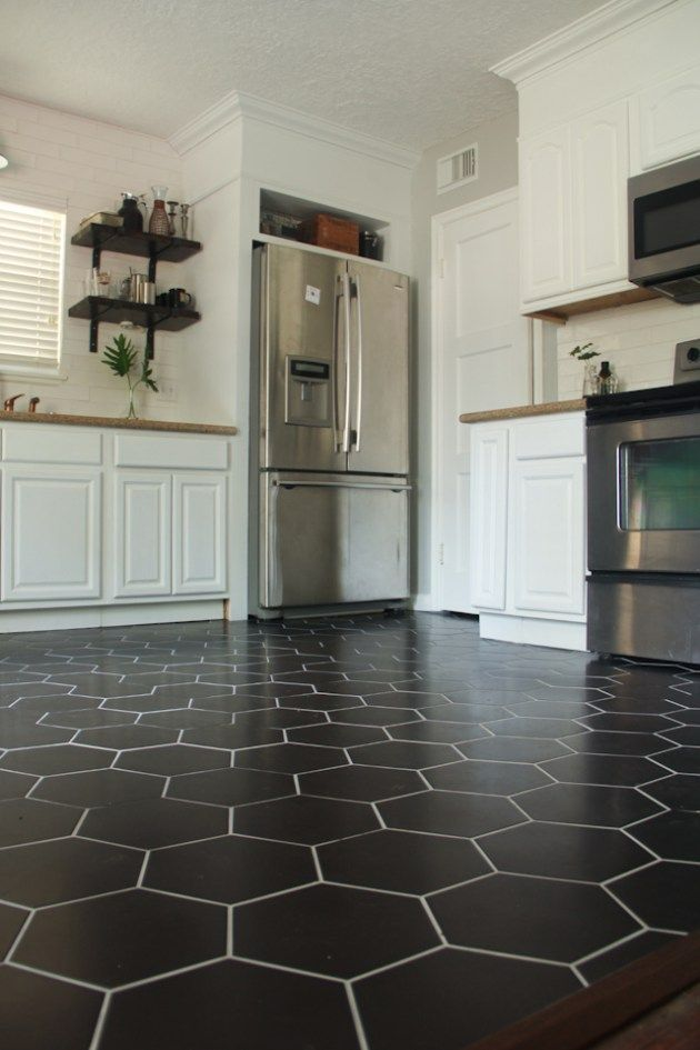 Black Hexagon Tile Kitchen Floor Diy Diy Fridge Surround White Cabinets Floating Shelf Matte Bla Kitchen Flooring Diy Kitchen Flooring Black Tiles Kitchen