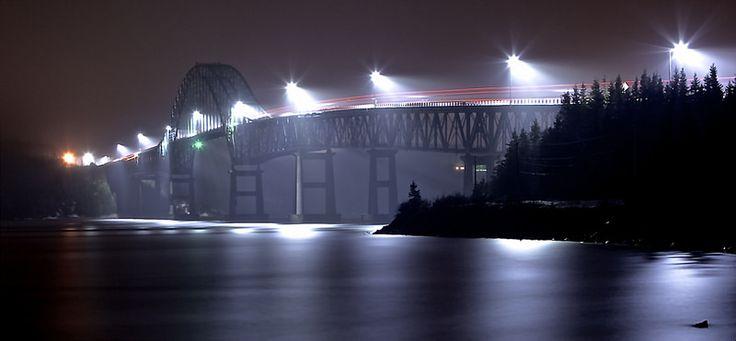 Seal Island Bridge, Cape Breton, Nova Scotia  on a foggy night...